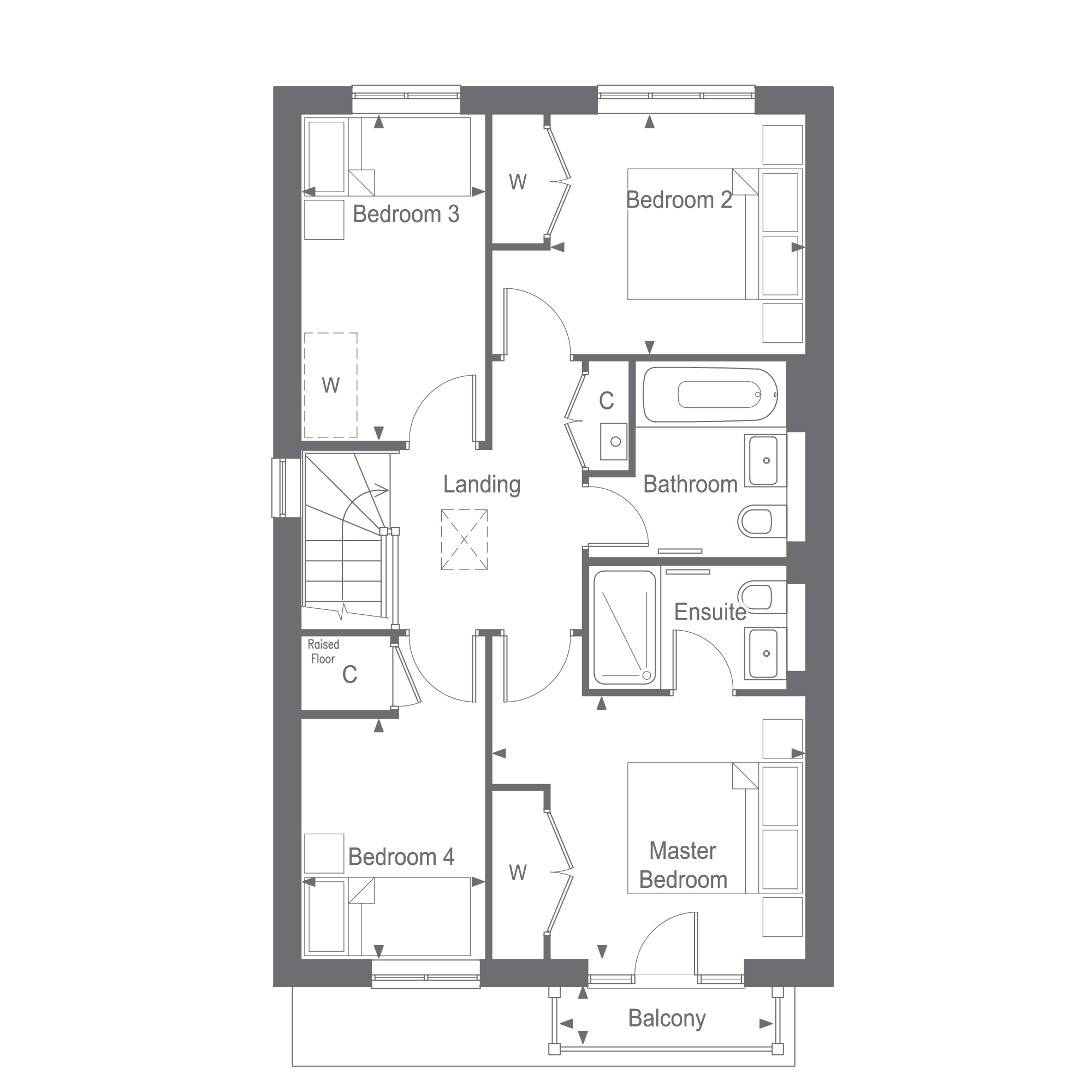 The Bletchingley First Floor Plan, Woodgate at Pease Pottage