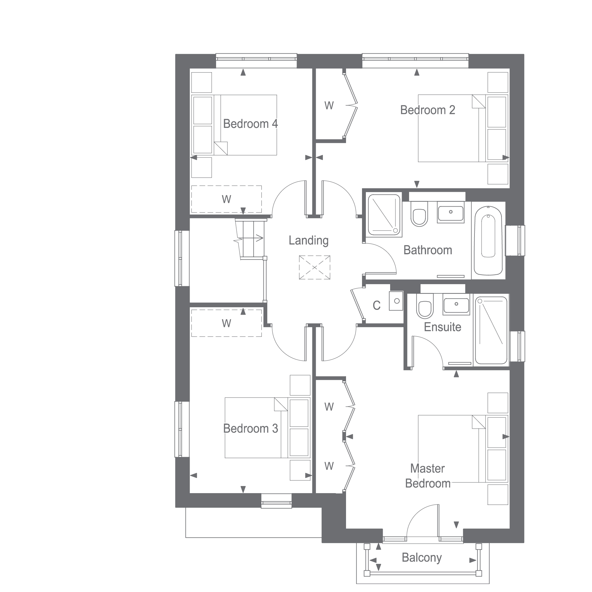 The Bramber First Floor Plan, Woodgate at Pease Pottage