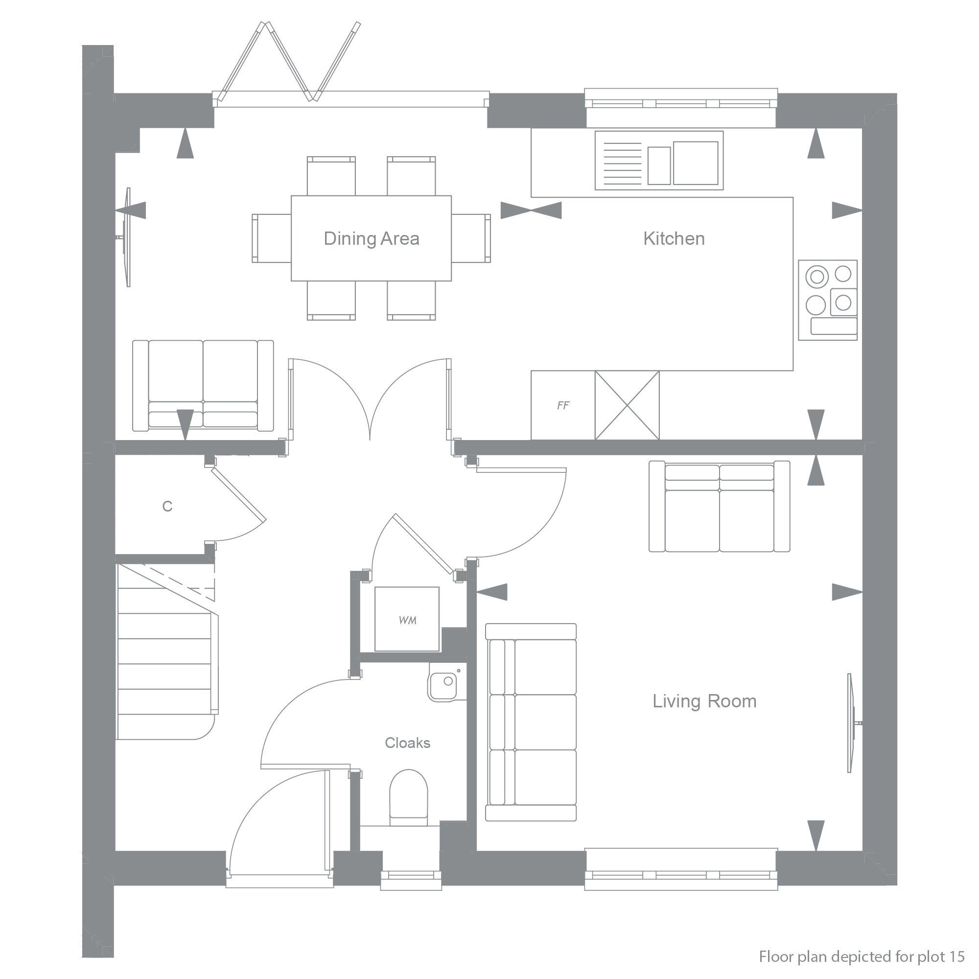 The Martingales, Bookham: The Courtyard, Number 15 GF Plan with description